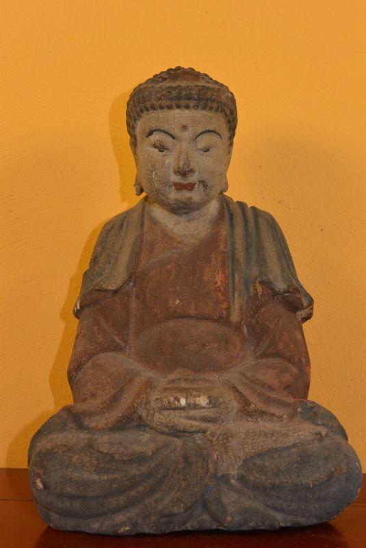 petit bouddha en bois chinois statuette thai. Black Bedroom Furniture Sets. Home Design Ideas