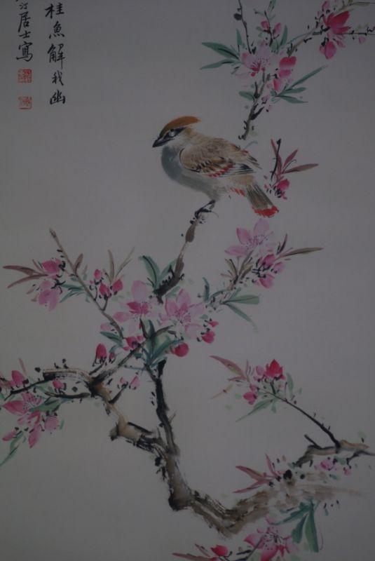peinture chinoise aquarelle sur soie oiseau