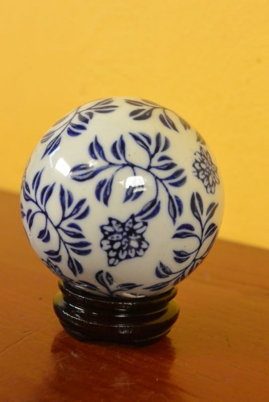 Small Porcelain Chinese Ball With Stand