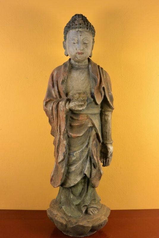 statue chinoise en bois bouddha debout. Black Bedroom Furniture Sets. Home Design Ideas