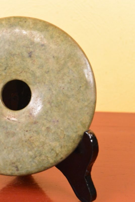 Small Chinese Bi Disk with wooden stand Green Tone 2