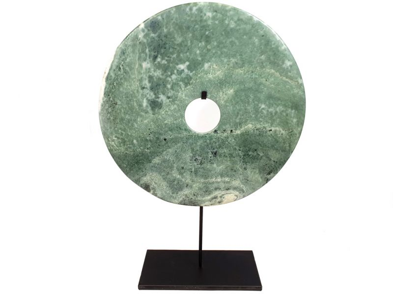 Very Large Chinese Bi Disc in Jade 35cm Green and Grey 2