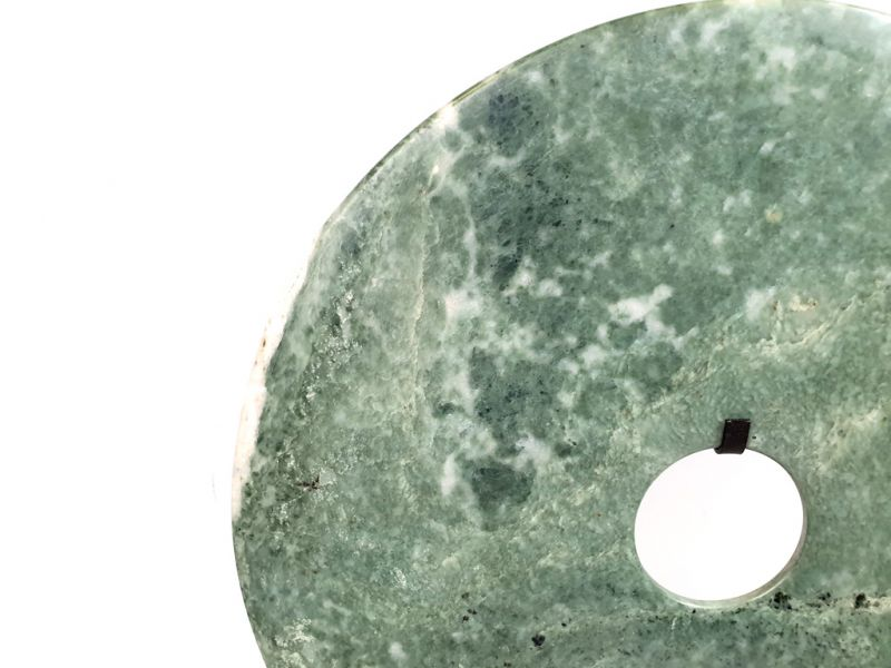 Very Large Chinese Bi Disc in Jade 35cm Green and Grey 3