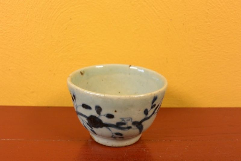 Small Chinese bowl or glass in porcelain Bird 2