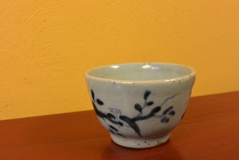 Small Chinese bowl or glass in porcelain Bird 3