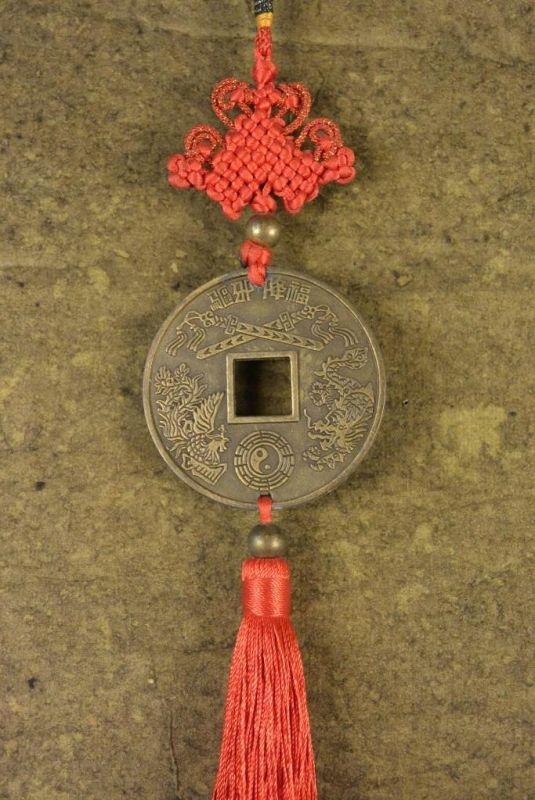 Feng Shui Anhänger Chinesische Münze Drachen Und Phönix