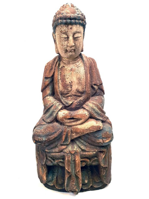 Chinese Wooden Statue Buddha Lotus position