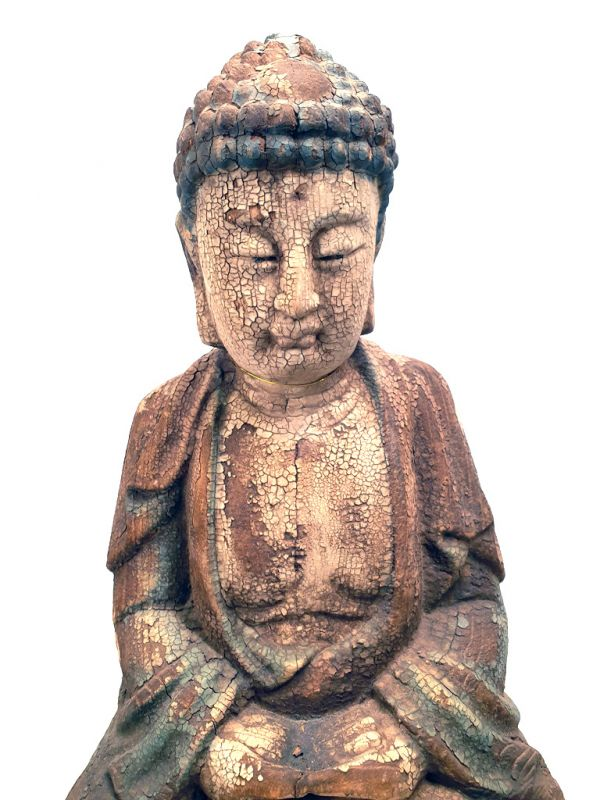 Chinese Wooden Statue Buddha Lotus position 2