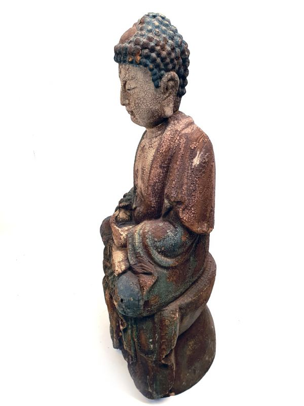Chinese Wooden Statue Buddha Lotus position 4