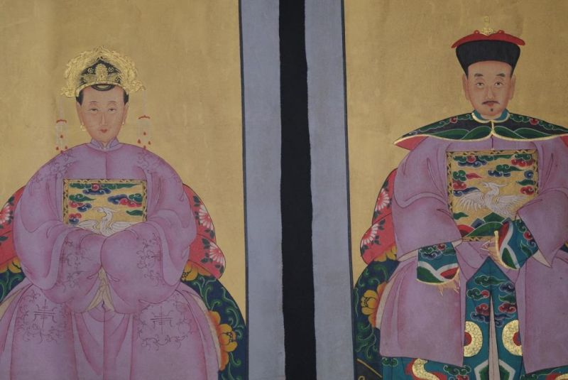 Chinese ancestors couple Painting from China Purple 2