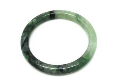 Jade Bracelet Bangle Class A Green and White 5 9cm
