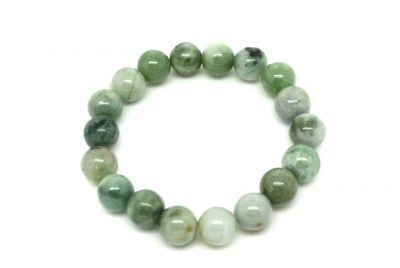 Jade 18 Beads Bracelet White and Green spotted