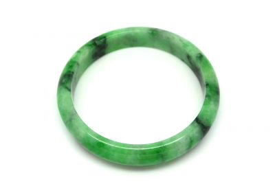 Jade Bracelet Bangle Class A Green spotted 6 25cm