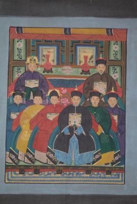 Dignitaries family from China 8 people Qing Dynasty