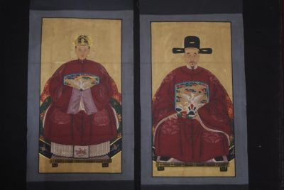 Chinese Dignitaries China Painting Dark Red