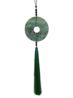 Suspended Bi Disk Silk and Jade Green