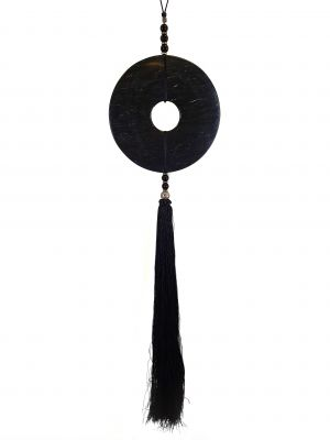 Suspended Bi Disk Silk and Jade Black