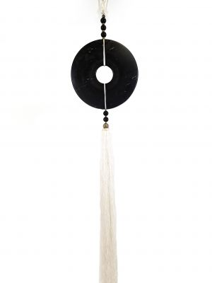 Suspended Bi Disk Silk and Jade Black and White