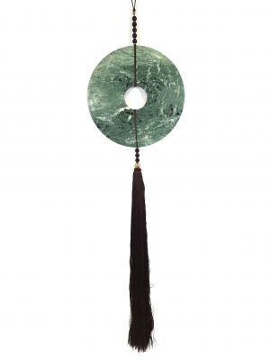 Large Suspended Bi Disk Silk and Jade Green and Brown