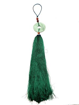 Small Suspended Bi Disk Silk and Jade Green