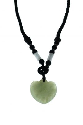 Necklace with Jade pendant - Translucent Green Heart