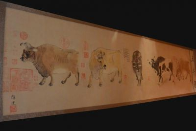 Very Large Chinese Kakemono - Five Oxen - Han Huang