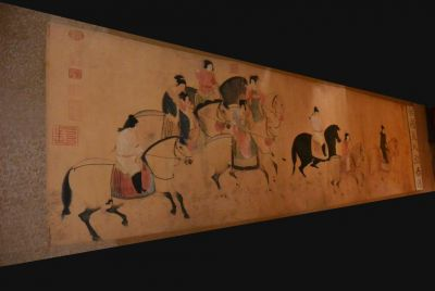 Very Large Chinese Kakemono Painting Horsmen