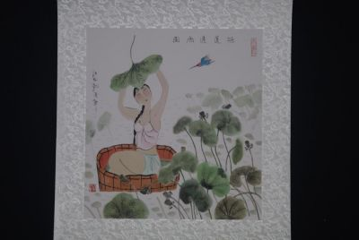 Chinese Paintings to Frame - Woman in water lilies