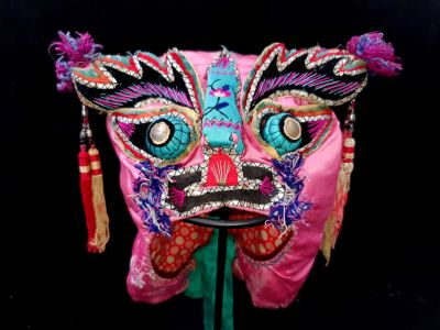 Old Chinese child headdress - Funny Pink dragon