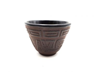 Small Chinese tea cup in cast iron - Chinese characters