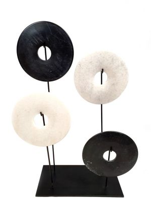 4 Chinese Bi Disks Set in Jade - Black and white discs