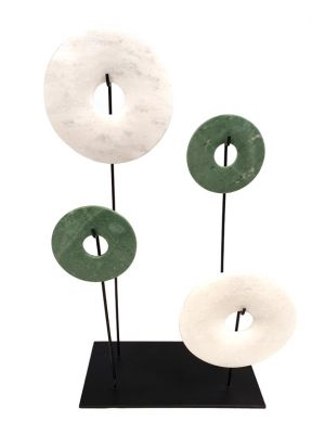 4 Chinese Bi Disks Set in Jade - White and green