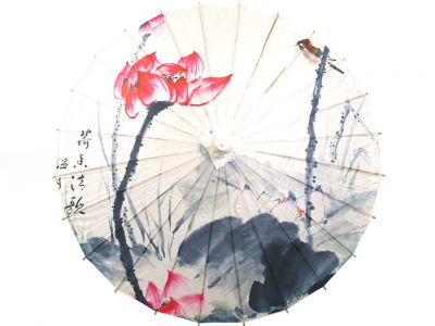 Chinese Wood and Paper Parasol - Lotus and bird