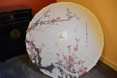 Chinese Wood and Paper Parasol - Cherry tree