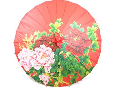 Chinese Wood and Paper Parasol - Flowers - Red
