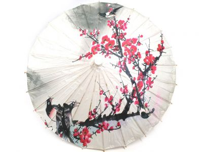 Chinese Wood and Paper Parasol - Birds on cherry tree