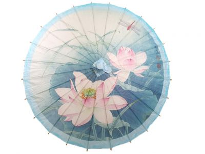 Chinese Wood and Paper Parasol - Lotus and Dragonfly