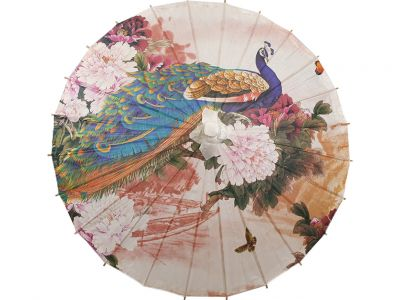Chinese Wood and Paper Parasol - Peacock