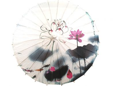 Chinese Wood and Paper Parasol - Lotus and fish