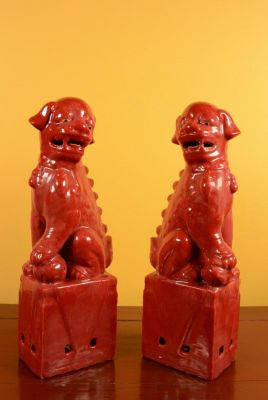 Fu Dog pair in porcelain Red China