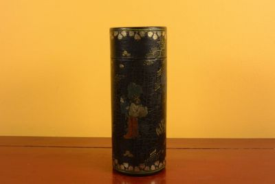 Chinese lacquer box - Tea box - Black and gold