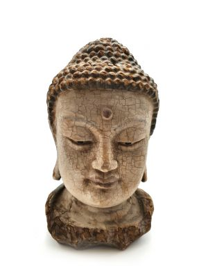 Asian wooden statue - Buddha head 27cm