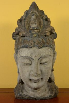Wooden Small Statue - Head of a Guanyin goddess 32cm