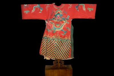 Ancient Chinese Theater Costume Red with a green dragon