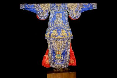 Ancient Chinese Theater Costume Blue and Golden Dragon