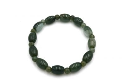 Jade 24 Beads Bracelet - Oval and round beads