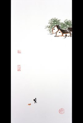 Modern Chinese painting - watercolor on rice paper - Hiking