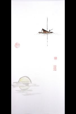 Modern Chinese painting - watercolor on rice paper - The wooden boat