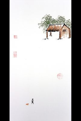 Modern Chinese painting - watercolor on rice paper - The garden