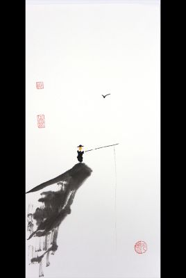 Modern Chinese painting - watercolor on rice paper - The fisherman on the cliff
